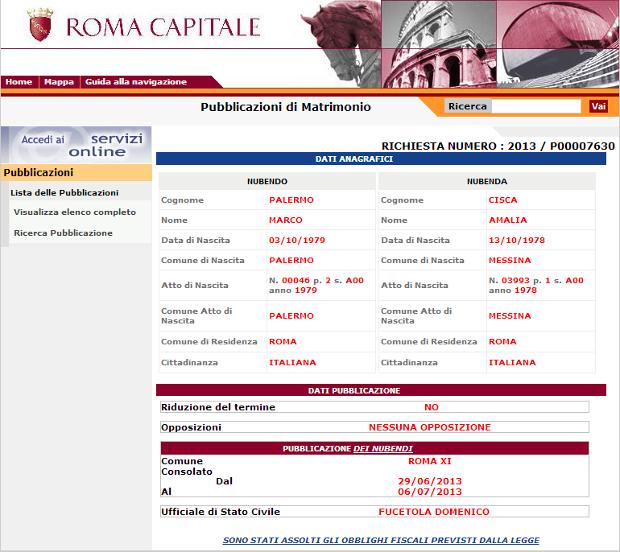Pubblicazione Comune Roma